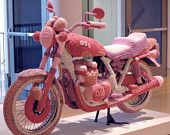 AMAZING! Knit Motorcycle Cozy sculpture by Theresa Honeywell