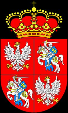 Coat of arms of the Polish-Lithuanian Commonwealth - this is general template, it does not consider form of Polish eagle from any real historical period Poland History, Book Of Kells, My Kind Of Town, My Heritage, Commonwealth, Coat Of Arms, Logo Nasa, Badge, Herb