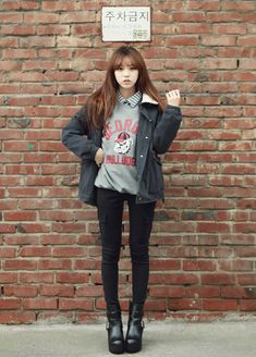 Fashion Korean Street Ulzzang Heart New Ideas Asian Street Style, Korean Street Fashion, Korea Fashion, Kpop Fashion, Kawaii Fashion, Cute Fashion, Asian Fashion, Trendy Fashion, Winter Fashion