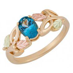 Landstroms Black Hills Gold Genuine Blue Topaz Ring Blue Topaz Ring, Topaz Gemstone, Jewelry Accessories, Jewelry Design, Black Hills Gold Jewelry, Earring Set, Solid Gold, Gold Rings, South Dakota