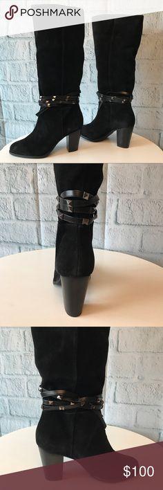 "Antonio Melani Boots Antonio Melani Binxs tall boots.  Suede upper.  Pull on style.  Shaft height is approx 14"" and shaft width is approx 16"". Heel is approx 3"". ANTONIO MELANI Shoes Heeled Boots"