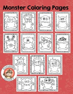 13 Monster coloring pages to use for early finishers, or as a way to teach about color.