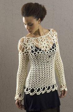 Jersey Calado Escote de Flores Patron - Patrones Crochet