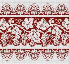 Αμπέλι μπουλντουρα Bargello, Cross Stitch Borders, Cross Stitching, Cross Stitch Patterns, Embroidery Patterns, Cross Stitch Embroidery, Crochet Diagram, Filet Crochet, Red Pattern
