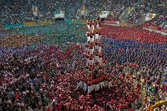 Oct. 9, 2012: Members of the Colla 'Vella de Valls' construct a human tower during the 24th Tarragona Castells Competition in Tarragona, Spain, on Sunday.
