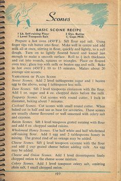 ★ Elle's Kitchen: ※ Vintage Scan - Scone Recipe (1955)