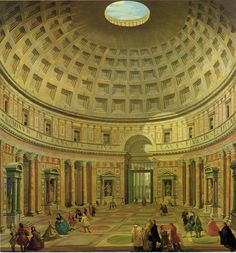 Interior of the Pantheon, Rome c 1747. - Workshop of Giovanni Paolo Panini