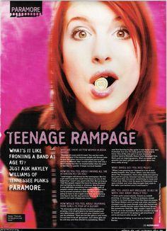 Paramore Hayley Williams 2005 (Kerrang Magazine May) Paramore Hayley Williams, Dark Fairytale, Scene Kids, Riot Grrrl, Band Posters, Iconic Women, Pop Punk, Rock Music, Alter