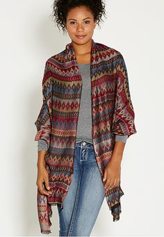 oblong scarf wrap in ethnic print (original price, $24) available at #Maurices