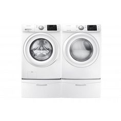 Samsung ft High Efficiency Stackable Front-Load Washer (White) ENERGY STAR at Lowe's. This Samsung front load washing machine helps you save time by fitting more into each load. Its Diamond Drum is gentle on your clothes to help them last Liverpool, Samsung Washer, Laundry Pedestal, Gas Dryer, Front Load Washer, Laundry Room Storage, Laundry Area, Washer And Dryer, Electric Dryer