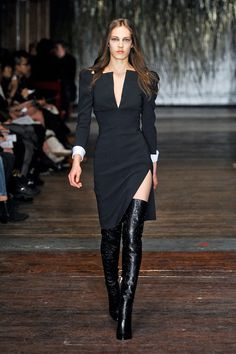 Try wearing thigh high boots with dress or knee length skirt