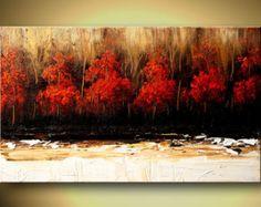 Paisaje contemporáneo pintura árboles rojos textura abstracto pintura acrílico rojo blanco por Osnat - confeccionar - 48