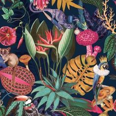 Navy Wallpaper, Tropical Wallpaper, Metallic Wallpaper, Stick On Wallpaper, Paper Wallpaper, Amazon Wallpaper, Funky Wallpaper, Tropical Animals, Colorful Animals