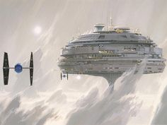 """""""Star Wars Alderaan Imperial City concept art by Ralph McQuarrie, February Yes, the idea behind Bespin's Cloud City (The Empire Strikes Back) was one of Ralph's earliest paintings for. """"A New Hope"""", but it was for Alderaan - then capital of the Empire. Bd Star Wars, Star Wars Rebels, Star Wars Art, Star Trek, Ralph Mcquarrie, Science Fiction, Star Wars Painting, Star Wars Concept Art, Cloud City"""