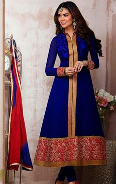 Picture of Elegant Blue Party Wear Churidar Kameez