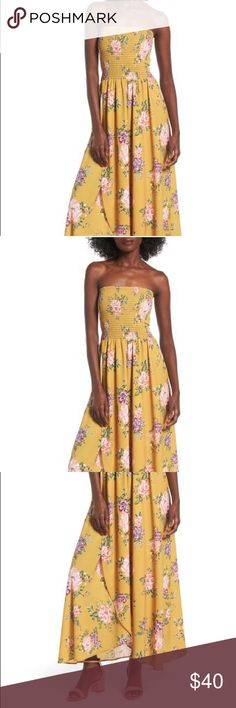 """Socialite Smocked Strapless Maxi Dress Mustard Floral 44"""" center front length, 49"""" back length.  96% polyester, 4% spandex All over smocking helps keep the Strapless bodice of this breezy floral print dress from falling down, ensuring you'll be as comfortable in this look as you will be cute. Socialite Dresses Strapless"""