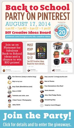 Join the DIY Creative Ideas Bloggers for a fun night of Back to School Pinning & Prizes! Aug. 17, 2014
