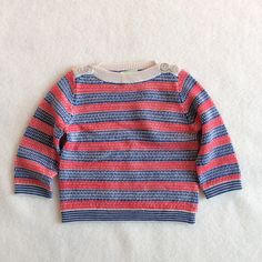 Unique knit pattern with mother of pearl shoulder buttons. 100% wool by Fub Denmark Made in China