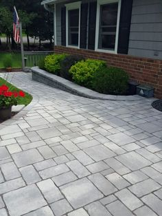 Black River Landscape Management updated this entryway with Cambridge Pavingstones with ArmorTec. Pavingstones will highlight your landscaping this spring. Front Walkway Landscaping, Front Yard Walkway, Paver Walkway, Walkway Ideas, Gallery Wall Staircase, Evergreen Garden, Lawn Maintenance, House Front Door, Backyard Patio