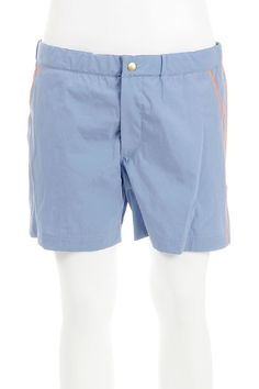 """Prada swimsuit shorts, Long Leg, Button and Zip, Pockets. Outer shell (80% Cotton, 20% Nylon) Interior (100% Nylon) Interlining (100% Polyester) Made in Italy light blue [Art. """"S84SP0007""""]."""