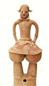 The Kofun period art, Haniwa terracotta clay figure.   A boy of the gala dress.   The late 500s. Chiba Japan.