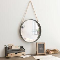 Miroir rond à suspendre en métal avec corde D40 | Maisons du Monde