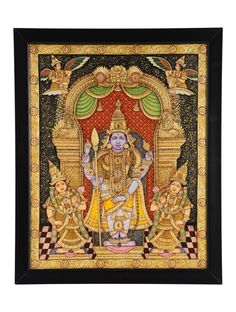 Buy Multicolor Lord Murugan Swami Traditional Tanjore Painting Gold Wood Art Decorative Folk Gilded Icons Framed Paintings Online at Jaypore.com