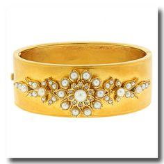 Inv. #16562  Antique Pearl  Rose-cut Diamond Bangle 14k c1880s London. Lawrence Jeffery Estate Jewelers