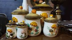 Mushroom Canister Set and Salt and Pepper Shaker Spotted at Angela's Attic in So. Beloit, Illinois in booth #59.