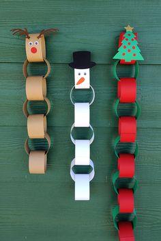 Christmas Countdown Crafts, Preschool Christmas, Christmas Activities, Xmas Crafts, Christmas Art, Christmas Projects, Reindeer Christmas, Easy Kids Christmas Crafts, Christmas Paper Chains