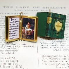Lady of Shallot by Alfred Tennyson - Miniature Book Charm Quote Pendant - for charm bracelet or necklace. Custom available!