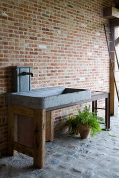 Would love that stone sink and fixture in a bathroom!  Floor too please!   old sink in blue stone | Dirk Cousaert