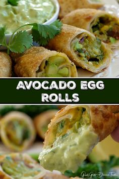 Bacon Avocado Egg Rolls - These avocado egg rolls are delicious. Loaded with amazing flavor and cheese, they will fast become a favorite appetizer recipe. Avocado Egg Rolls, Bacon Avocado, Avocado Recipes, Appetizer Dishes, Appetizer Recipes, Cooking Chinese Food, Chicken Spring Rolls, Vegetarian Recipes, Cooking Recipes