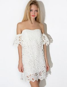 29ad7dedd3088f Off Shoulder Delicate White Lace Dress