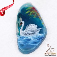 Hand Painted Swan Agate Slice Gemstone Necklace Pendant Jewlery D1705 1862 #ZL #Pendant