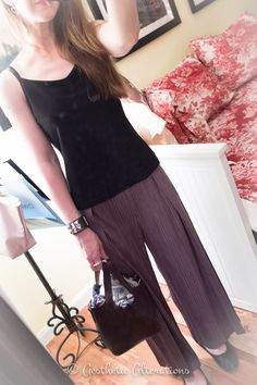 Issey Miyake gray trousers, EF crepe top, and ballerinas