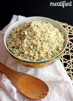 This cauliflower rice is simmered with coconut milk & lime juice. It is a great grain free side dish to curry dishes & is Whole 30 & AIP compliant. Rice Recipes, Low Carb Recipes, Vegetarian Recipes, Cooking Recipes, Healthy Recipes, Vegan Vegetarian, Simple Recipes, Bean Recipes, Coconut Cauliflower Rice