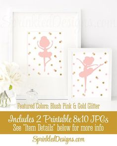Ballerina Wall Art, Printable Ballerina Room Decor Sign, Little Ballerina Birthday Party Decorations, Ballet Gift, Blush Pink Gold Glitter