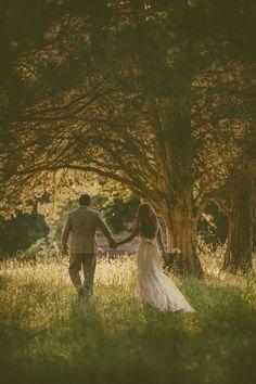 Dream Wedding | Southern Wedding | Wedding Kiss | Romantic Wedding | Rustic Wedding | Sunset Wedding | Trees | Lace Wedding Dress | Long Hair | Bride | Groom | Outside | Farm Wedding | GetzCreative