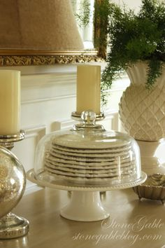 StoneGable: plates stacked on cake pedestal