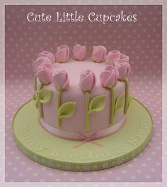 """6"""" Classic Vanilla filled with Madagascan Vanilla buttercream & Raspberry Jam ~ decorated in pale green & powder pink fondant rose buds x"""
