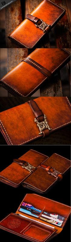 Handmade leather long clutch biker trucker chain wallet coffee brown leather men wallet                                                                                                                                                                                 More