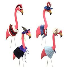 Large Pink Flamingo lawn ornament with 4 Seasonal Outfits Costumes Clothes - Easter bunny, halloween witch, Christmas Santa Claus, July 4th Uncle Sam, http://www.amazon.com/dp/B005BYGK8G/ref=cm_sw_r_pi_awdm_kVLpub1PHK035