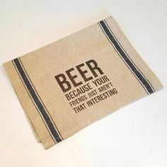 Beer Bar Towel - fun items for the bar