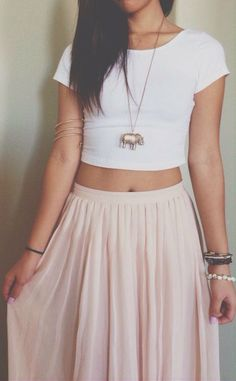 Love the necklace and skirt. <3