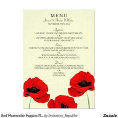 Red Watercolor Poppies Floral Wedding Collection 4.5x6.25 Paper Invitation Card