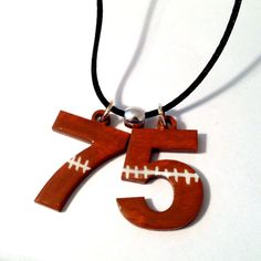 Painted Football Numbers Necklace Sports by SherrollsDesigns