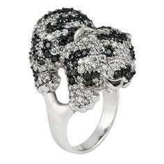 Zirconia Studded Tiger Cub Sterling Silver Ring