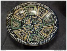 Ancien Plat Gothar Marocain Faïence Maroc début XXème Diam 34,5cm / Arabic Ceramic Fez Safi Meknès
