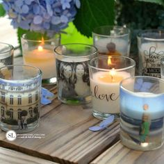 These DIY Photo Candle Holders were created using one of the easiest image transfer methods. They were simply made with clear packing tape! Cool Diy, Easy Diy, Home Crafts, Fun Crafts, Diy Gifts To Make, Diy Foto, Decopage, Photo Candles, Diy Candle Holders